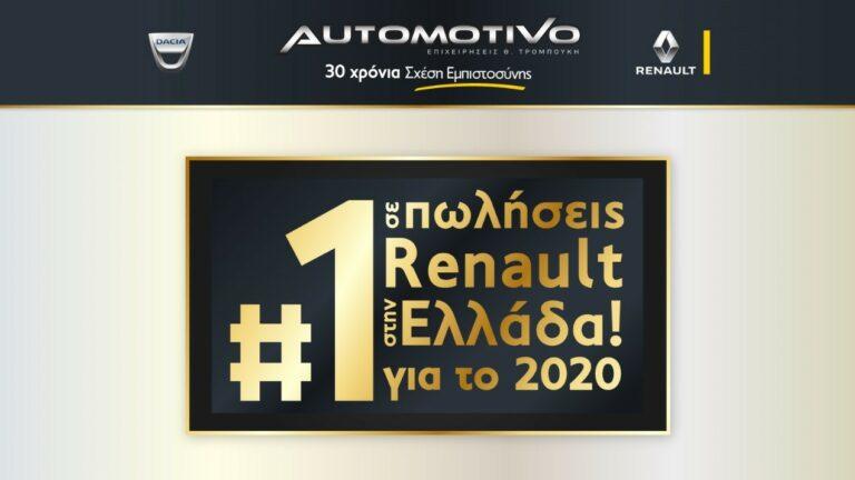 H AUTOMOTIVO, 1η σε πωλήσεις Renault για το 2020!