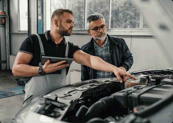 mechanic client talking
